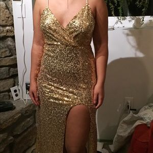 Gold sequin dress with slit